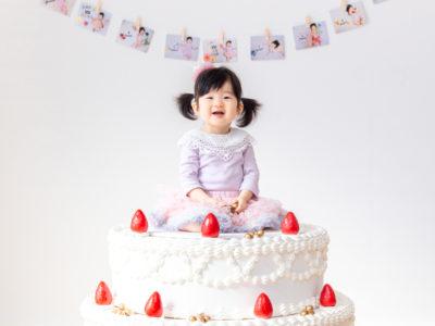 1birthday ケーキオブジェ 記念写真