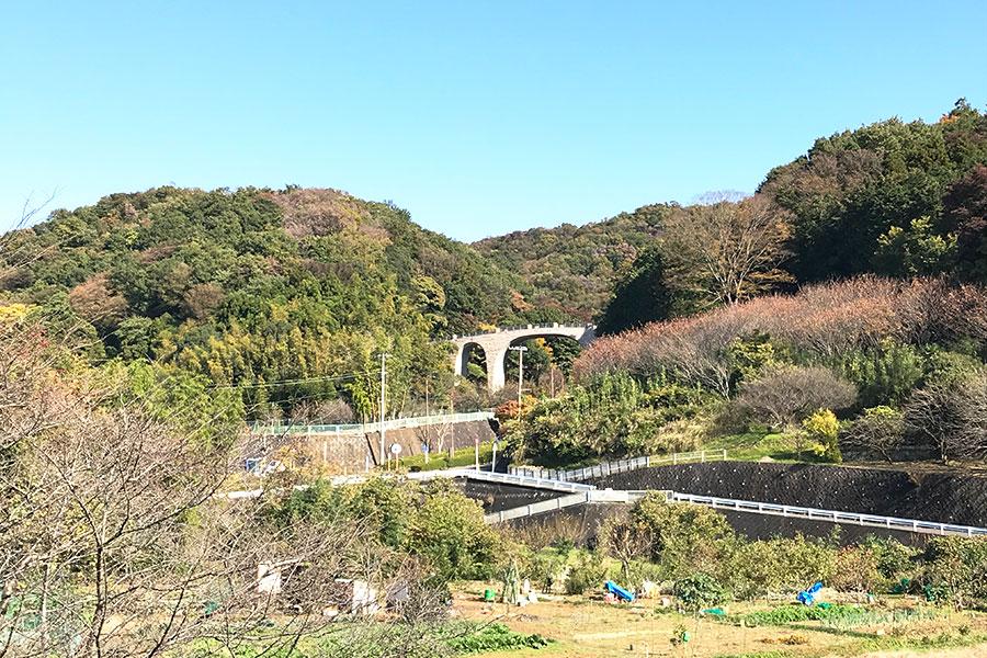 黄金井酒造から見える七沢の景色
